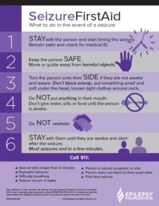 Seizure first aid card. What to do in the event of a seizure. Stay, safe, side.