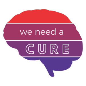 Ombre red and purple brain, we need a cure. Donate today to help fund cures for epilepsy.